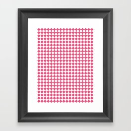 Small Diamonds - White and Dark Pink Framed Art Print