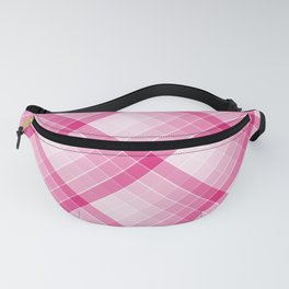 Pink Geometric Squares Diagonal Check Tablecloth Fanny Pack