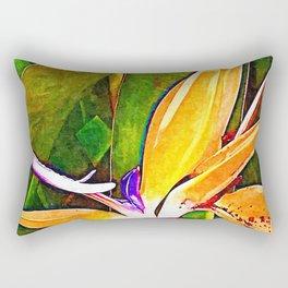 Bird of paradise flower macro Painting Rectangular Pillow