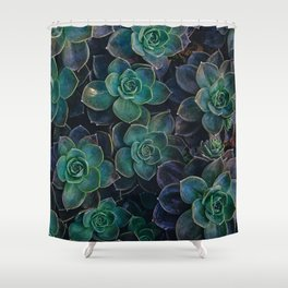 Succulent Plant - Dark Green Shower Curtain