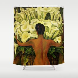 """""""Nude With Lilies"""" by Diego Rivera Shower Curtain"""