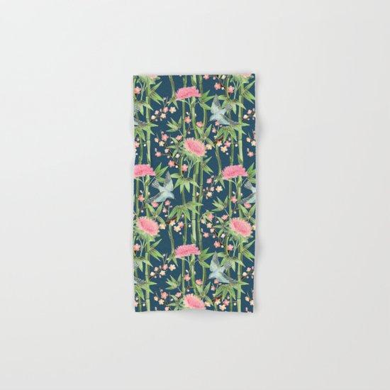 Bamboo, Birds and Blossom - dark teal Hand & Bath Towel