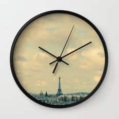 Paris In Blue Wall Clock