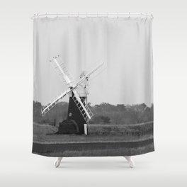 Windmill, Norfolk Broads, England Shower Curtain