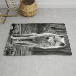 White Wolf in the Forest Rug