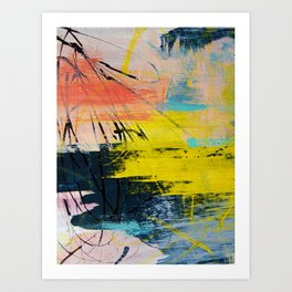 Adventurer: A vibrant abstract mixed-media piece in pink yellow and green by Alyssa Hamilton Art Art Print