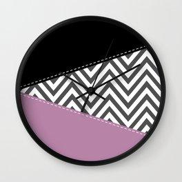 Zigzag Pattern, Chevron Pattern - Gray Purple Black Wall Clock