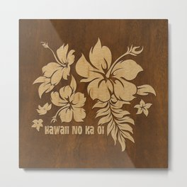 Hibiscus Pareau Hawaiian Floral Aloha Shirt Print Metal Print