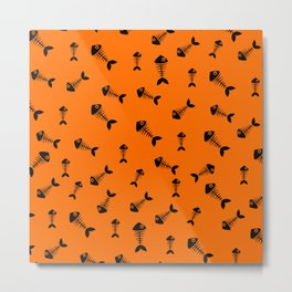 Orange and black fishbone pattern Metal Print