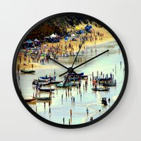 rowing Wall Clocks featuring Rowing Regatta by Chris' Landscape Images & Designs