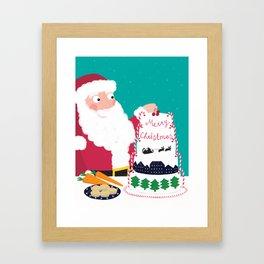 Father Christmas Making A Christmas Cake Framed Art Print