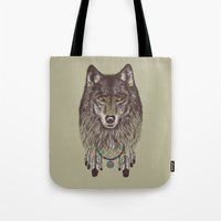 wolf Tote Bags featuring Wind Catcher Wolf by Rachel Caldwell