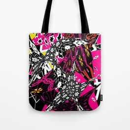Abstract in callage bright colors and layers of patterns Tote Bag