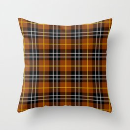 orange plaid pattern Throw Pillow