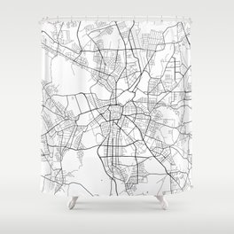 Leipzig Map, Germany - Black and White Shower Curtain