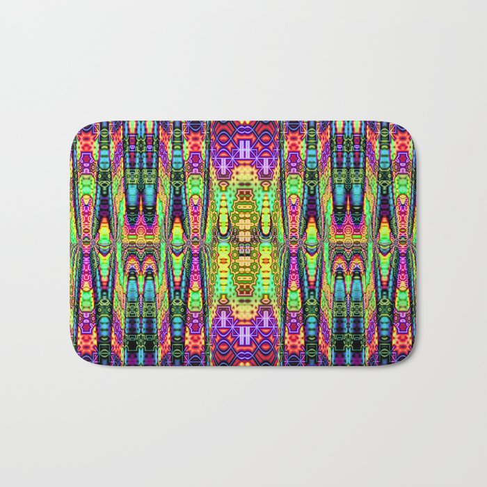 Color Confession Fractal Abstract With Decorative Tribal Patterns Bath Mat By Walstraasart Society6