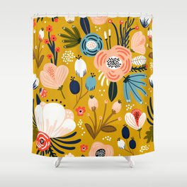 Mid-Century Modern Floral Print on Mellow-Yellow Shower Curtain