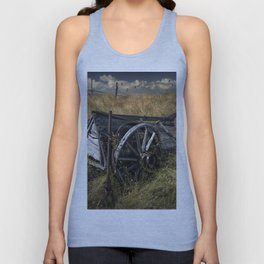 Old Broken Down Wooden Farm Wagon in the Grass Unisex Tank Top