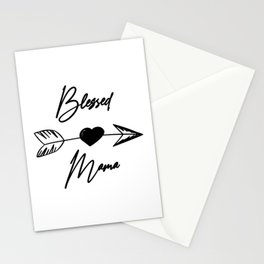 Blessed Mama boho black lettering Stationery Cards