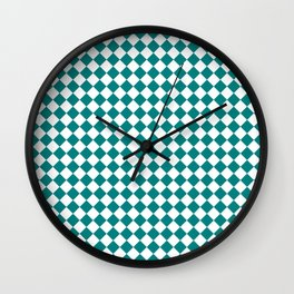 White and Teal Green Diamonds Wall Clock