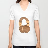 headphones V-neck T-shirts featuring Headphones by MelRae
