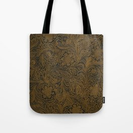 Vintage Art Nouveau woodcut on faux leather pattern Tote Bag