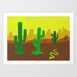 Cactos in desert Art Print