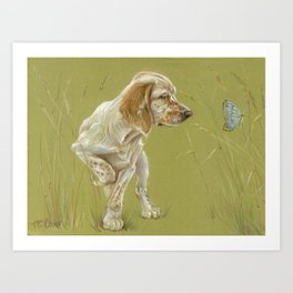 The First Spring Butterfly English Setter Puppy Pastel Drawing on green background Art Print