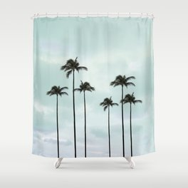 Palm Tree | Landscape Photography | Sunset Clouds | Blue Sky | Minimalism Shower Curtain
