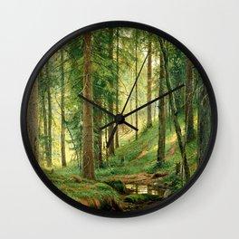 "Ivan Shishkin ""Stream in the Forest (On the Hillside)"" Wall Clock"