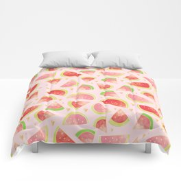 Watermelon Slices & Gold Hearts Comforters
