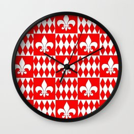 Red and white fleur de lis and diamonds checker Wall Clock