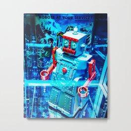 Retro Robot 2 Metal Print