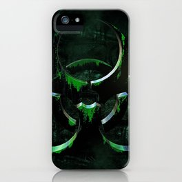 Green Grunge Biohazard Symbol iPhone Case