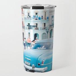 Colorful Blue Car in Old Havana Cuba Travel Mug