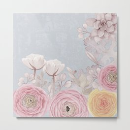 Floral Spring Greatings - Pastel Flowers Metal Print