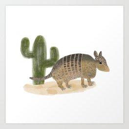 Desert Armadillo & Cactus Illustration  Art Print