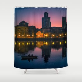 Night boating Shower Curtain