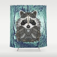 ornate Shower Curtains featuring Ornate Raccoon by ArtLovePassion