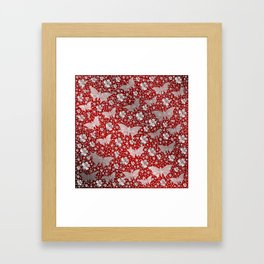 silver, red,flowers, stars, butterfly, pattern, bright, shiny, elegant, color Framed Art Print