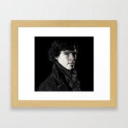 Sherlock in Black and White Framed Art Print