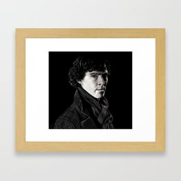 Sherlock in Black and White Framed Art Print