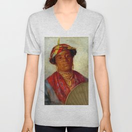 African American Masterpiece 'Woman with Gold Necklaces' by Helen Watson Phelps Unisex V-Neck