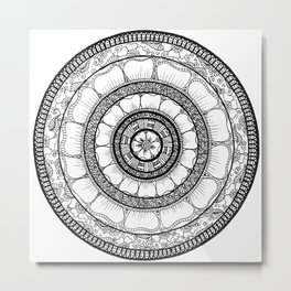 Circle - Mandala - Love Wealth Health Youthfulnes - White Black Metal Print