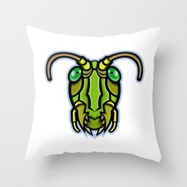 Grasshopper Head Mascot Throw Pillow