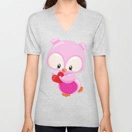 Little Owl Holding A Heart, Pink Owl, Love Owl Unisex V-Neck