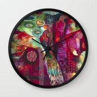"flora bowley Wall Clocks featuring ""True Nature"" Original Painting by Flora Bowley by Flora Bowley"