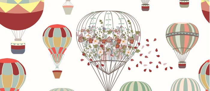 Adventures. Illustration with air balloons in vintage hipster style Coffee Mug