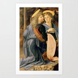 """Andrea del Verrocchio and Leonardo da Vinci """"Baptism of Christ"""" - angels Art Print"""