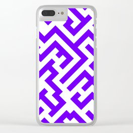 White and Indigo Violet Diagonal Labyrinth Clear iPhone Case
